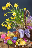Easter basket with narcissus Stock Image