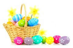 Easter basket over white royalty free stock photography