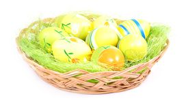 Easter basket with painted eggs Royalty Free Stock Photography
