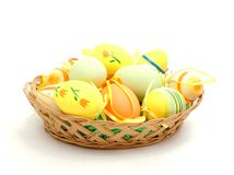 Easter basket with painted eggs Royalty Free Stock Images