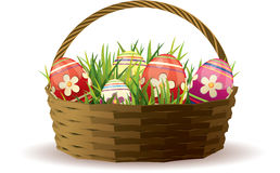 Easter basket with painted eggs Stock Photography