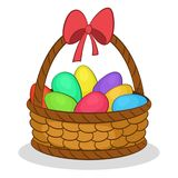Easter Basket with Painted Eggs Stock Images