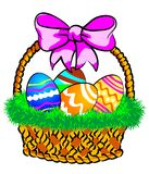 Easter Basket with a pink bow. Illustration of a Easter basket with colorful eggs decorated, on grass Stock Illustration
