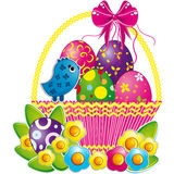 Easter basket with pink bow and a cute chicken. An illustration for your design project Stock Image