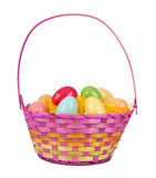 Easter Basket with Plastic Eggs Stock Photo