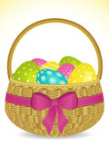 Easter basket with pokla dot eggs Stock Image