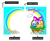 Easter basket postcard Stock Photos