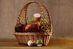 Easter basket with products Stock Images