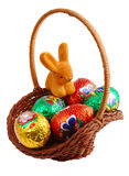 Easter basket with rabbit. Easter basket isolated on whote background Royalty Free Stock Photos