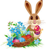 Easter basket and rabbit. With egg Royalty Free Stock Images
