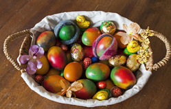 Easter basket with red eggs Royalty Free Stock Photography
