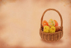 Easter basket with retro copy space Stock Images