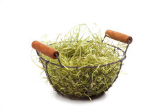 Easter Basket, series, straw, isolated on white Royalty Free Stock Photo