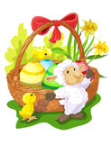Easter basket with sheep and chickens. Easter basket with Easter eggs, white sheep and two chickens vector illustration
