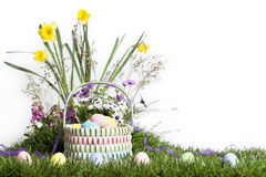 Easter Basket Spring Flowers 2 Royalty Free Stock Photo