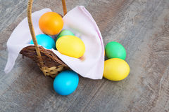 Easter basket on a table Stock Photography
