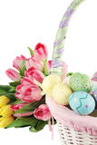 Easter Basket and Tulips Royalty Free Stock Image