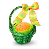 Easter basket on white background Stock Photo