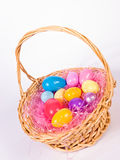 Easter basket wih colorful eggs Royalty Free Stock Photo