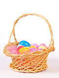 Easter basket wih colorful eggs. An Easter basket wih colorful eggs Royalty Free Stock Photography
