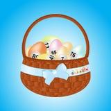 Easter Basket With Bingo Eggs Royalty Free Stock Photos