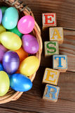 Easter Basket and Wood Blocks Stock Image
