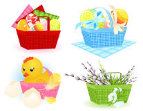 Easter baskets. Vector illustration, AI file included Stock Images