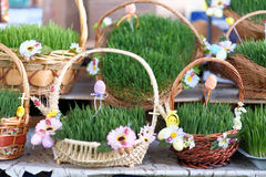 Easter baskets with grass Royalty Free Stock Photos