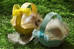 Easter baskets on the lawn. Easter baskets with eggs on the lawn Stock Photos