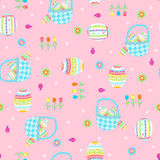 Easter Baskets Seamless Repeat Pattern. Vector Background Illustration Royalty Free Stock Photo