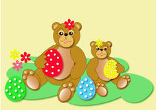 Easter bears. And eggs illustrations Royalty Free Stock Image