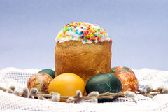 Easter. Beautiful kulich and colorful painted eggs Stock Photography
