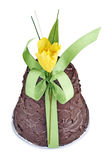 Easter bell in chocolate with ribbon and flower Stock Photos