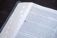 Easter Bible reading of the good news of the resurrection of Jesus Christ from the dead. John chapter 20 royalty free stock image