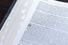Easter Bible reading of the good news of the resurrection of Jesus Christ from the dead. John chapter 20 stock images