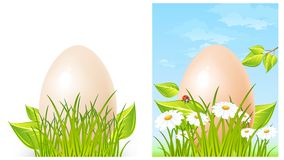 Easter big egg on grass Stock Photography