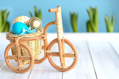 Easter bike with eggs Royalty Free Stock Photo