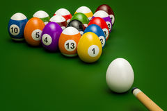 Easter billiard balls with cue, 3D rendering. Easter billiard balls with cue, 3D Stock Photo