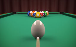 Easter billiard balls (eggs). Let's play pool with colored Easter eggs. Have fun vector illustration