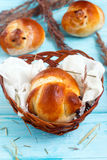 Easter bird buns. In the nest Royalty Free Stock Images