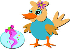 Easter Bird with Decorated Egg Royalty Free Stock Images