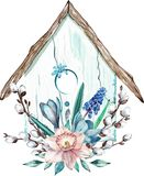 Easter bird house with spring flowers and willow branches. Watercolor illustration isolated on white background royalty free illustration