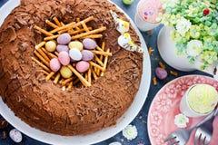Easter bird nest cake Royalty Free Stock Photo