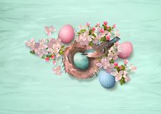 Easter Bird and Nest. Easter composition with a bird, nest, spring flowers and painted eggs Vector Illustration