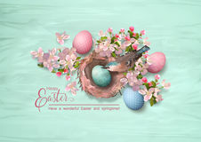 Easter Bird and Nest. Vector composition with Happy Easter lettering, bird, nest, spring flowers and painted eggs Vector Illustration