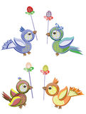 Easter birds icons Stock Images