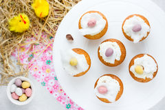 Easter birds nest cupcakes Stock Image