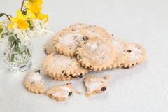 easter bisciuts in heap with a broken biscuit in front Royalty Free Stock Image