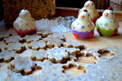 Easter biscuits. Easter biscuit baking with chicken decoration stock images