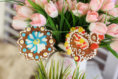 Easter biscuits. With pink flowers Stock Image